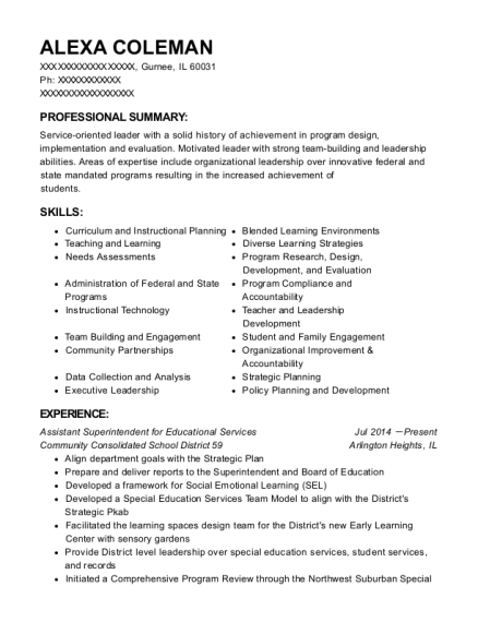 Assistant Superintendent for Educational Services resume sample Illinois