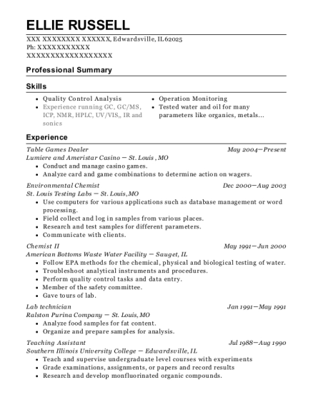 Table Games Dealer resume template Illinois