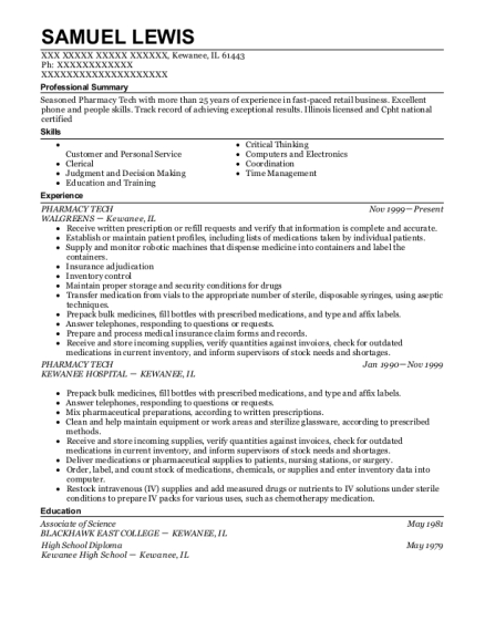 PHARMACY TECH resume template Illinois