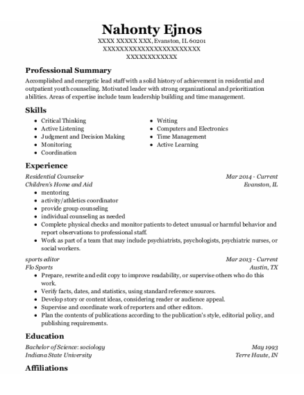Residential Counselor resume template Illinois