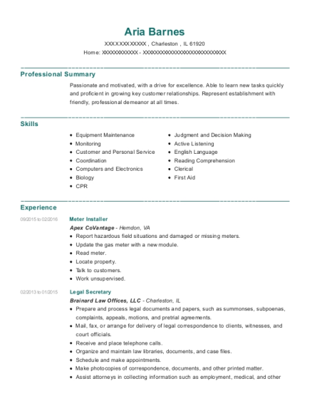 Meter Installer resume template Illinois