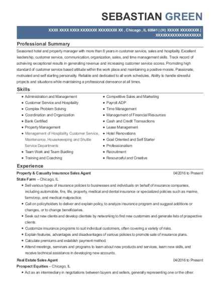 Property & Casualty Insurance Sales Agent resume format Illinois