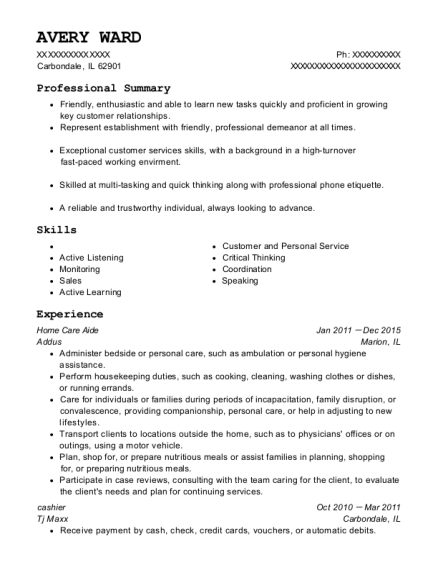 Home Care Aide resume template Illinois
