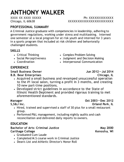 Small Business Owner resume template Illinois
