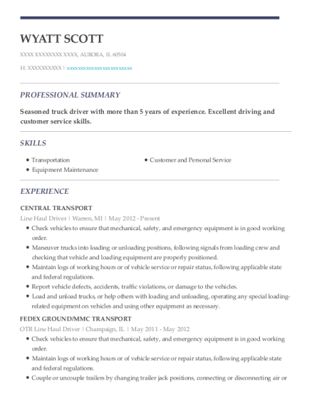 Line Haul Driver resume format Illinois