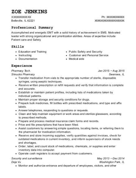 Pharmacy Tech resume example Illinois