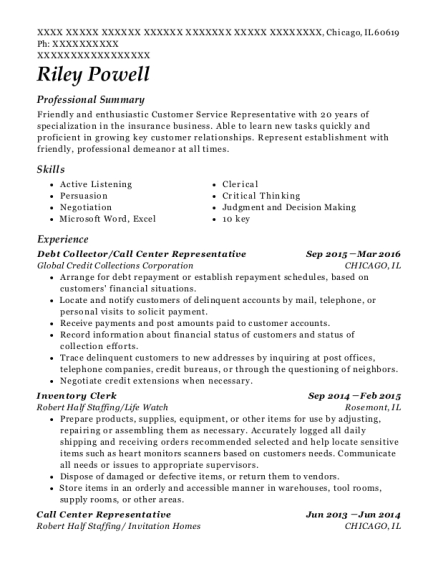 Debt Collector resume sample Illinois