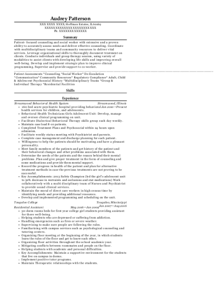 Residential Assistant resume example Illinois