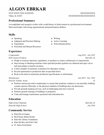 Compounder resume template Illinois