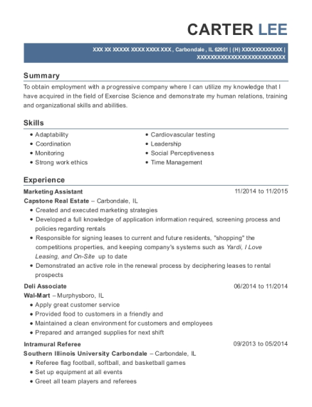 Marketing Assistant resume template Illinois