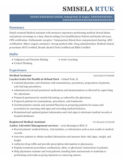 Registered Medical Assistant resume example Illinois