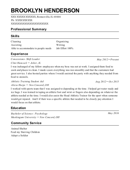 Concessions Shift Leader resume template Illinois