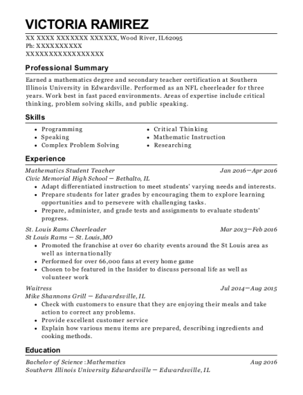 Mathematics Student Teacher resume sample Illinois