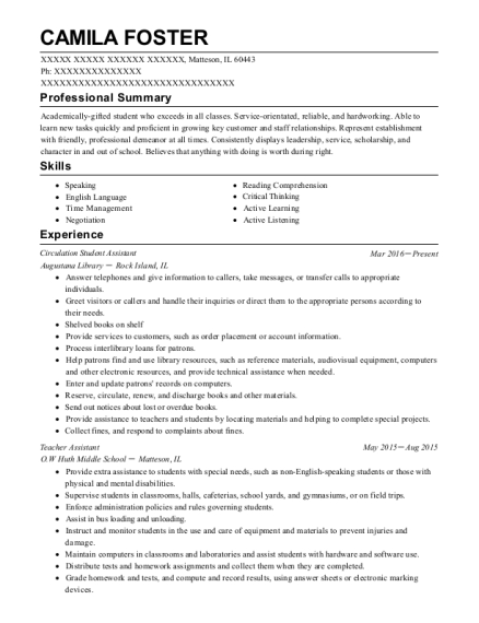 Circulation Student Assistant resume format Illinois