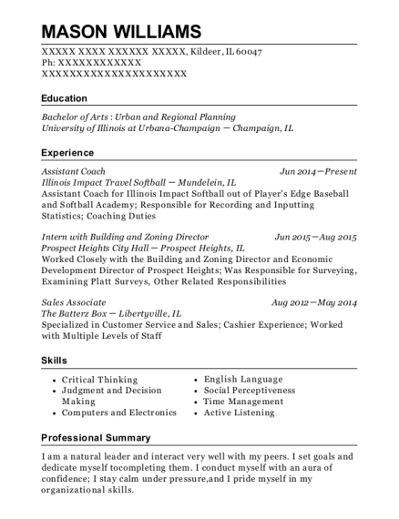 Assistant Coach resume template Illinois