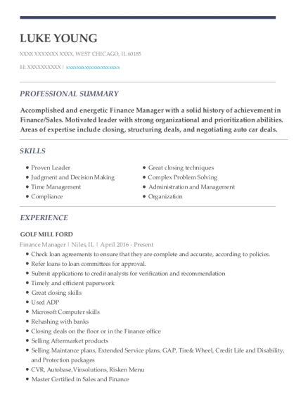 Finance Manager resume template Illinois