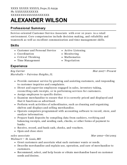 Key Carrier resume sample Illinois