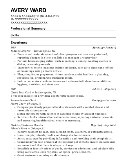 DSP resume sample Illinois