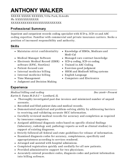 Medical billing and coding resume format Illinois