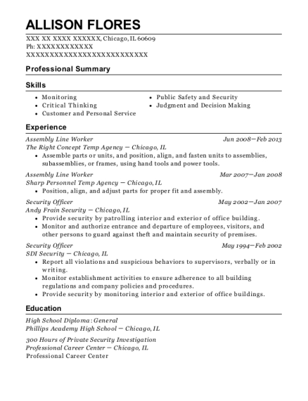 Assembly Line Worker resume example Illinois