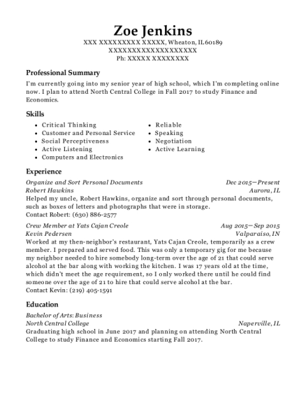 Organize and Sort Personal Documents resume template Illinois