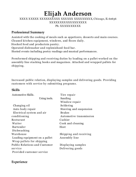 Shipping & packing resume format Illinois