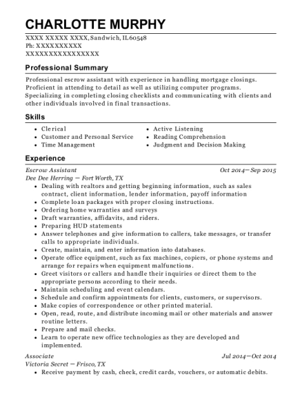 Escrow Assistant resume format Illinois