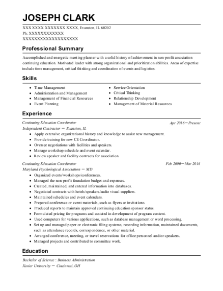 Continuing Education Coordinator resume example Illinois
