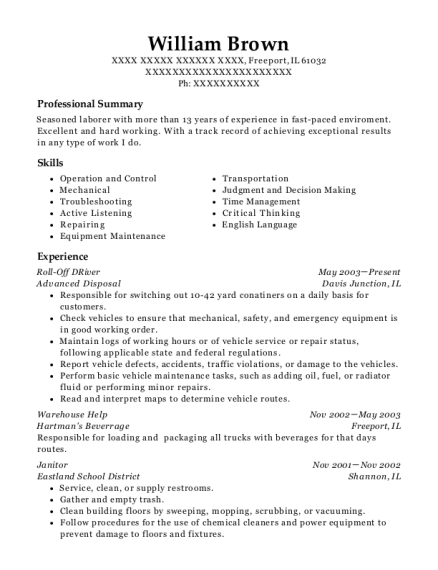 Roll Off DRiver resume format Illinois