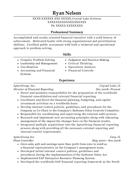 Director of Financial Reporting resume format Illinois