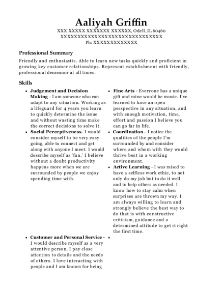 Waitress resume template Illinois