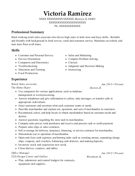 Retail Sales Associate resume example Illinois