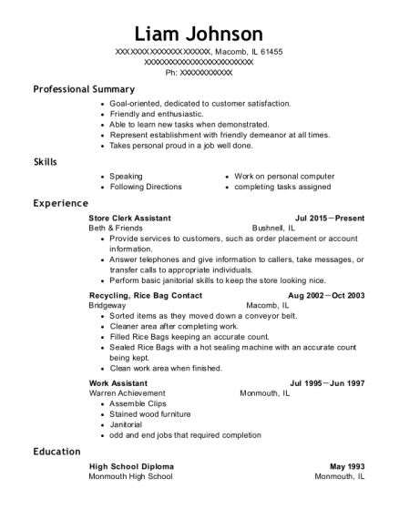 Store Clerk Assistant resume example Illinois