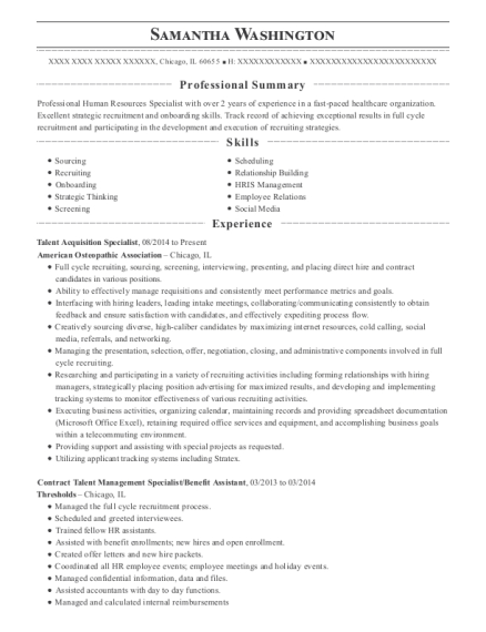 Talent Acquisition Specialist resume format Illinois