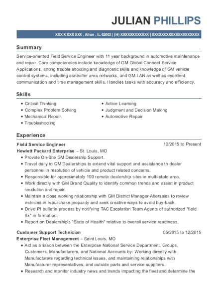Field Service Engineer resume template Illinois