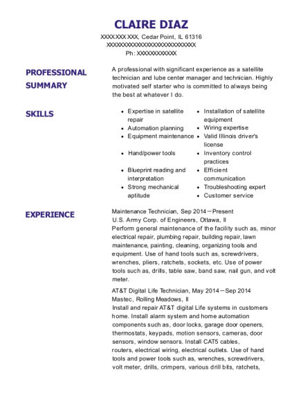 Maintenance Technician resume sample Illinois