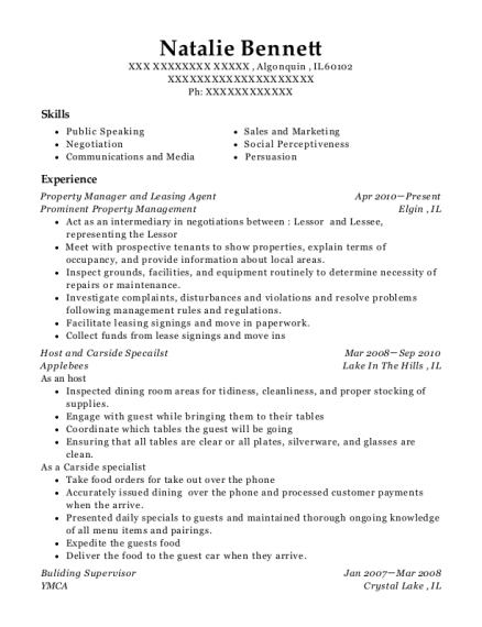 Property Manager and Leasing Agent resume template Illinois