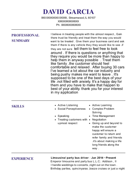 Limousine resume sample Illinois