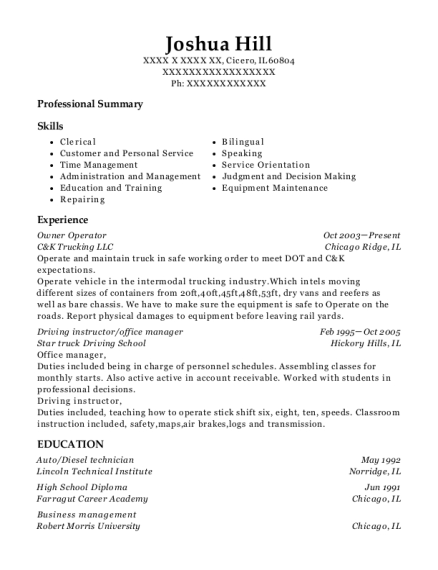 Owner Operator resume sample Illinois