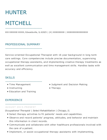 Occupational Therapist resume format Illinois
