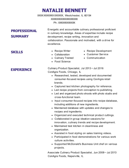 Culinary Product Specialist resume format Illinois