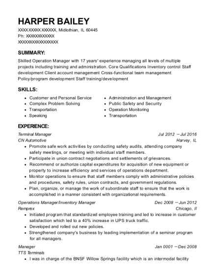 Terminal Manager resume template Illinois