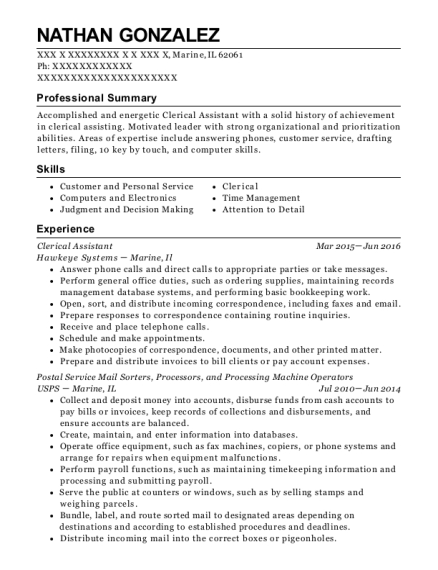 Clerical Assistant resume format Illinois