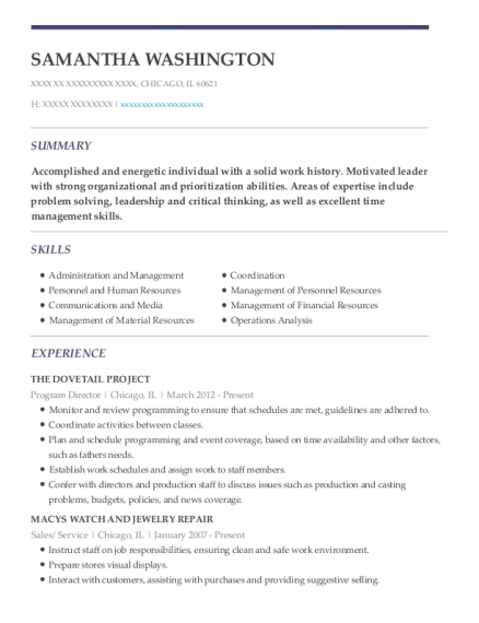 Program Director resume format Illinois