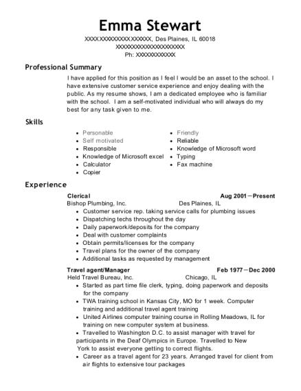 Clerical resume template Illinois