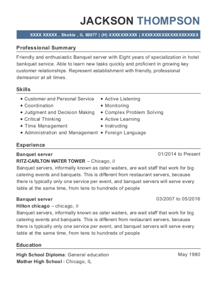 Banquet server resume template Illinois