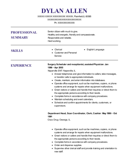 Surgery Scheduler and receptionist resume example Illinois