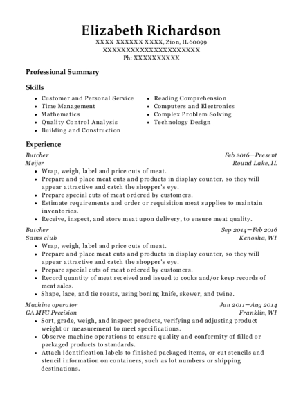 Butcher resume sample Illinois