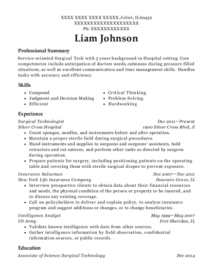 Surgical Technologist resume example Illinois