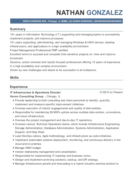 IT Infrastructure & Operations Director resume template Illinois